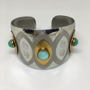 Silver and gold with aqua stones cuff bracelet.